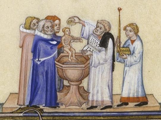 Middeleeuwse doop van pasgeborene
