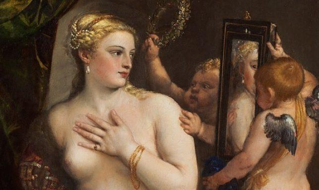 Renaissance woman mirror Titian detail