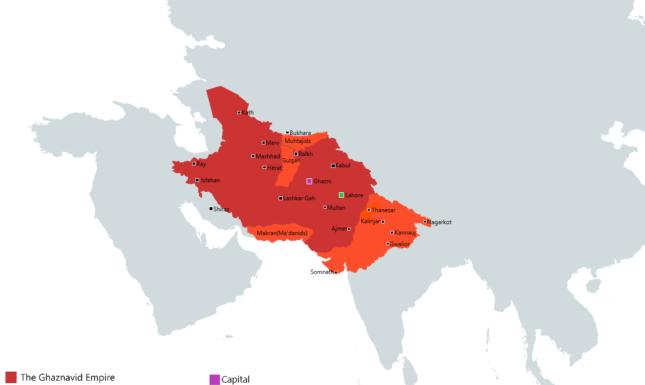 The Ghaznavid Empire at its maximum extent