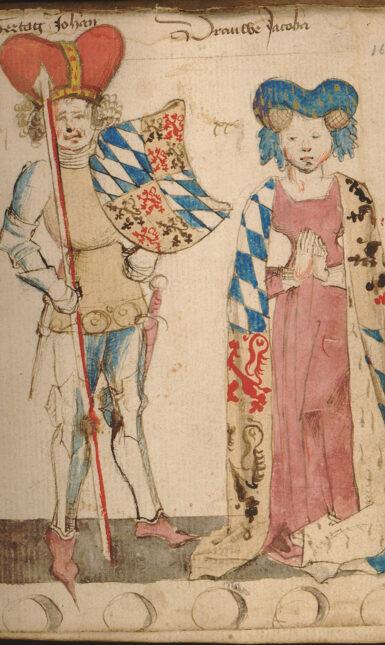 Jan en Jacoba van Beieren in Wapenboek Hendrik van Heessel Effgoedbibliotheek Hendrik Conscience Vlaanderen B 89420 f 162 bewerkt 2