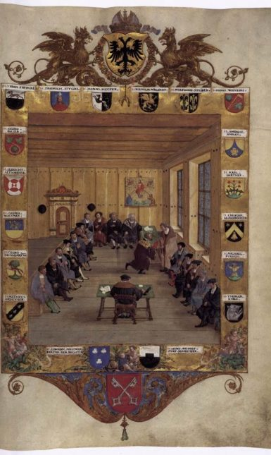 Meeting of the Regensburg Council 1536 by Hans Mielich